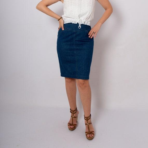 FENDI Vintage Denim Skirt Jean Skirt High Waist Pe