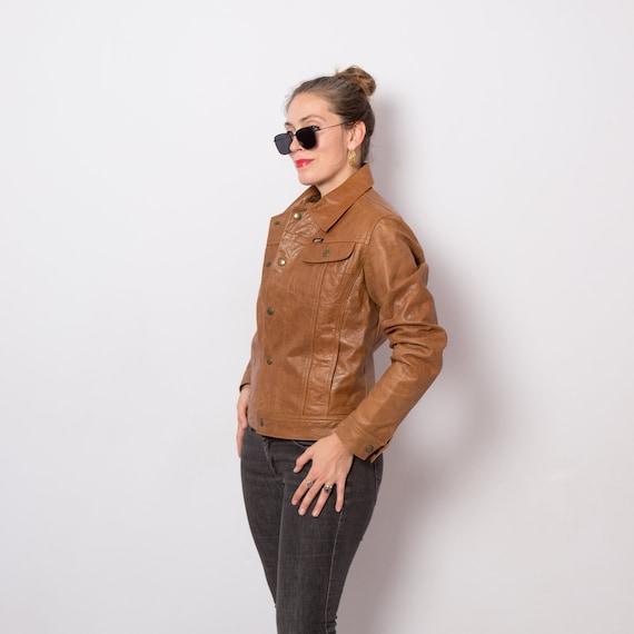 Cognac Brown Cropped Leather Jacket Vintage Leathe