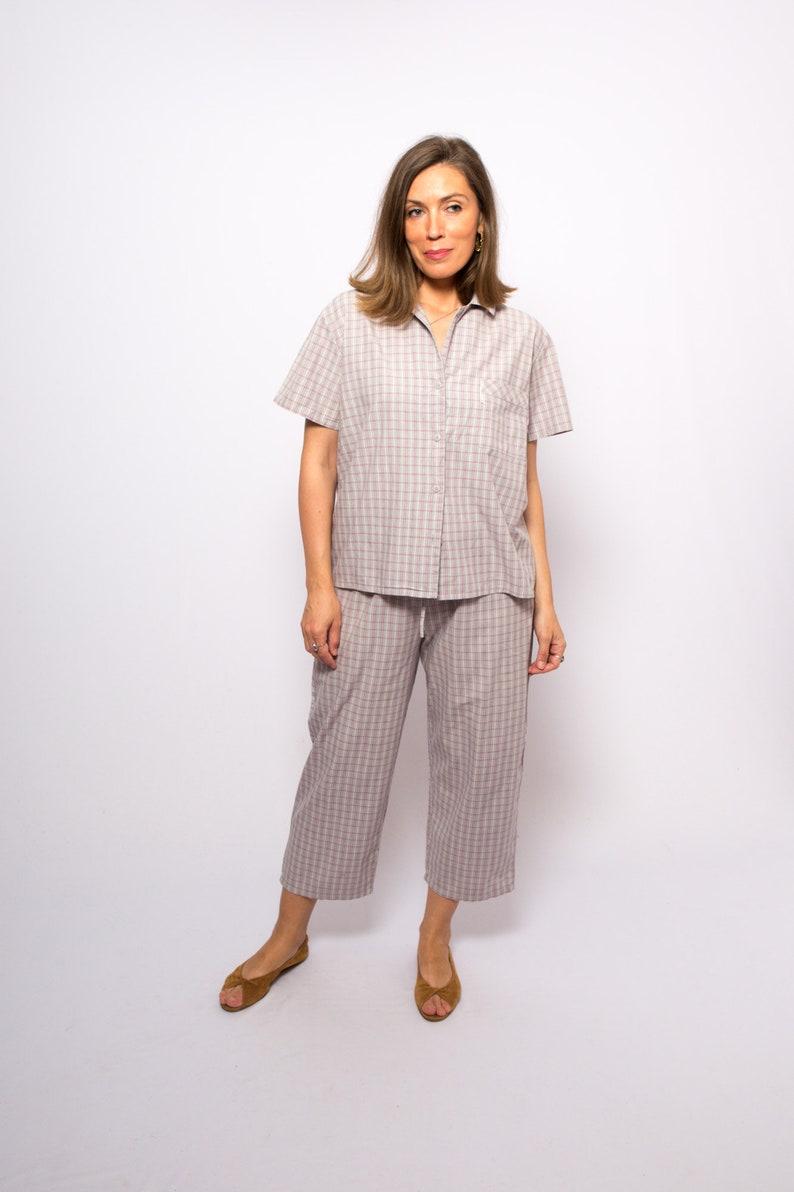 90s Plaid Cotton Pajama Set Tartan Loungwear Pyjama Femme Night Gown Sleepwear Medium Size