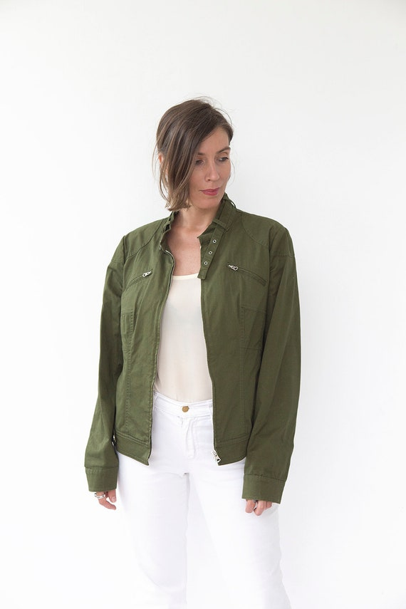 Green Flight 80s Green Jacket Women ESCADA Blazer Vintage Olive Cropped Blazer Unisex Jacket Blazer Blazer Military Men Vintage Sport Blazer xxZwqT