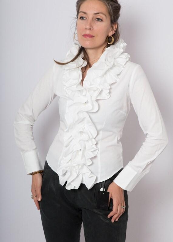 90s Ruffle Blouse White Cotton Blouse Ruffle Shir… - image 8