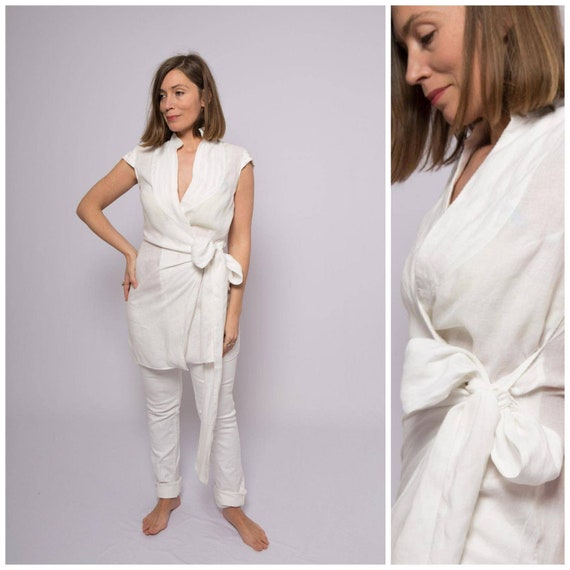 Linen Wrap Top Linen Shirt Linen Wrap Blouse White