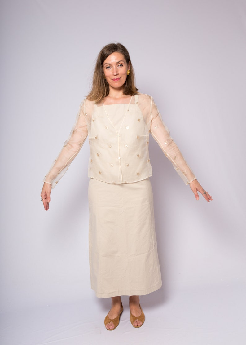 Vintage Beige Silk Jacket See Through Blouse Organza Shrug Wedding Bolero Jacket Capelet Evening Jacket Cardigan Small Semi Medium Size
