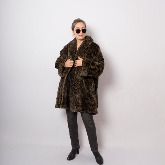Vintage Dark Brown Oversized Leopard Print Coat Fa