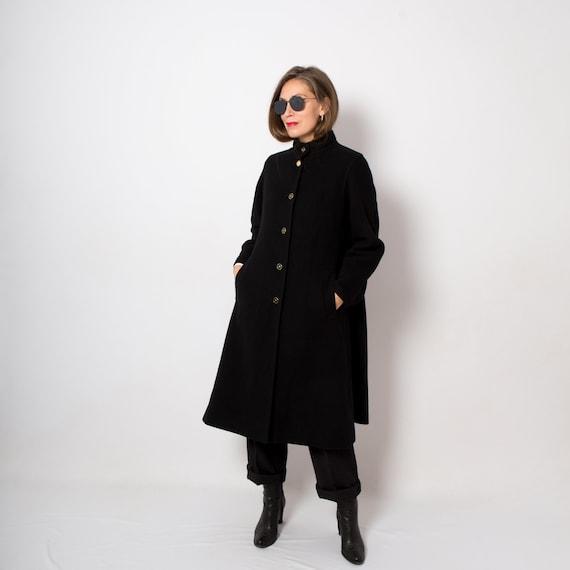 LOUIS FERAUD Black Wool Coat Women Princess Coat M