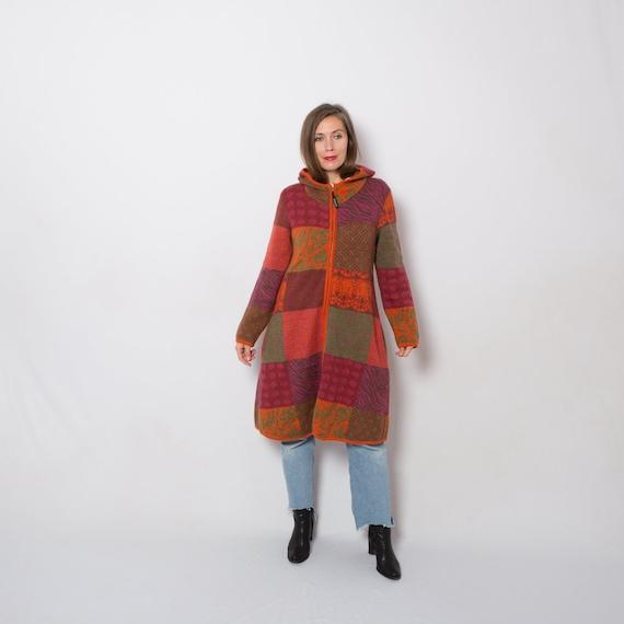 Merino Wool Coat Patchwork Coat Long Cardigan Hood
