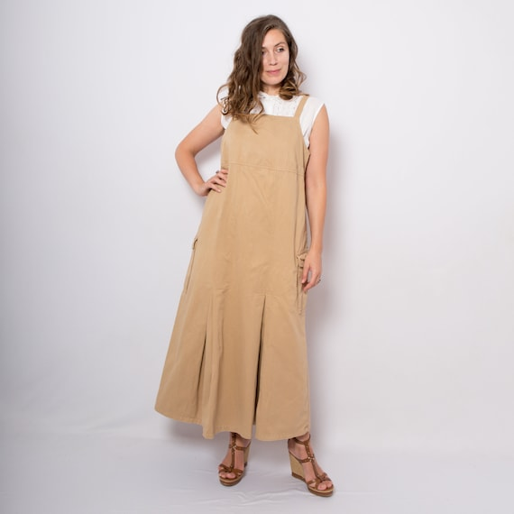 Pinafore Dress Overall Dress Brown Denim Jumpsuit