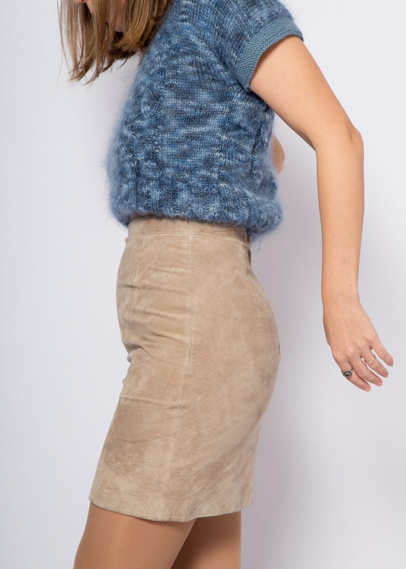 Suede Skirt Leather Mini Skirt Small Size W 29