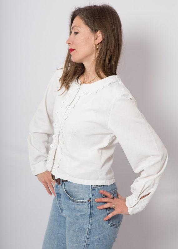 White Button Up Blouse White Lace Blouse Duchess … - image 4