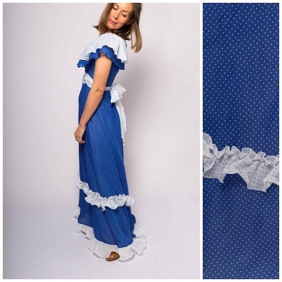 RARE Vintage Emiliana Wendel Blue White Polk Dot M