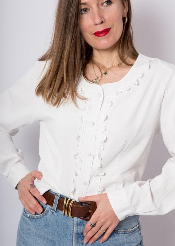 White Button Up Blouse White Lace Blouse Duchess … - image 2
