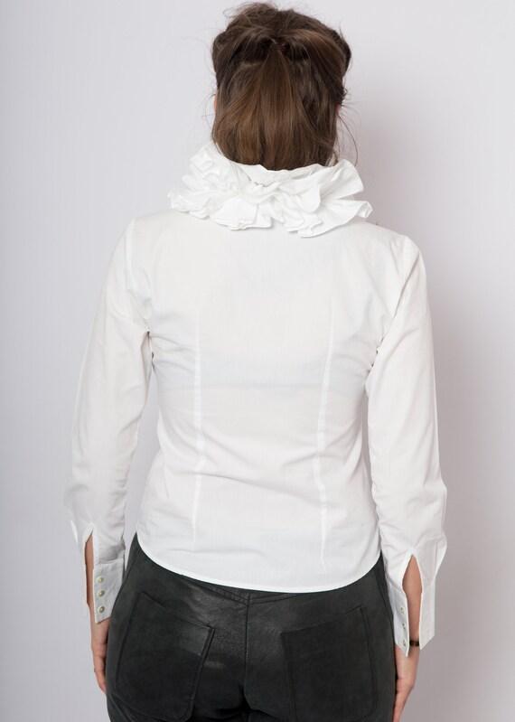 90s Ruffle Blouse White Cotton Blouse Ruffle Shir… - image 9