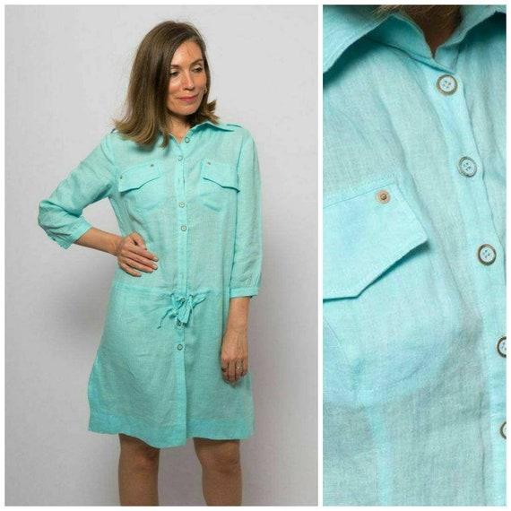 Blue Linen Dress Linen Shirt Dress Turquoise Dress