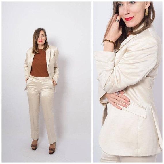 CARLO PIGNATELLI Pastel Womens Pant Suit Satin Bla