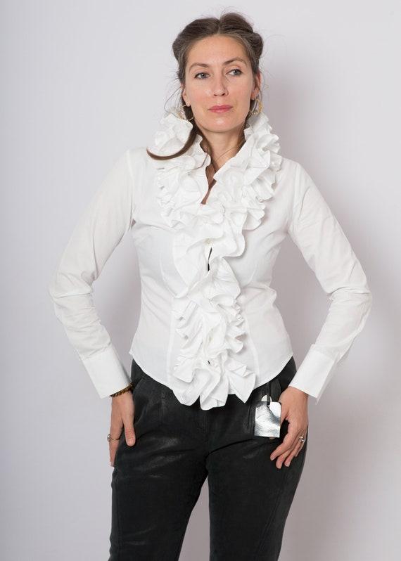 90s Ruffle Blouse White Cotton Blouse Ruffle Shir… - image 7