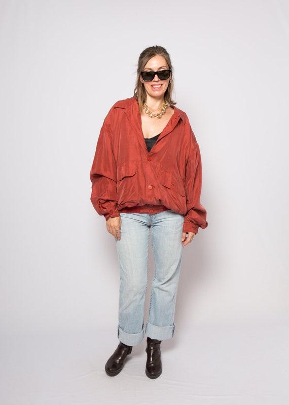 Red Silk Bomber Jacket Padded Shoulder Oversized … - image 5