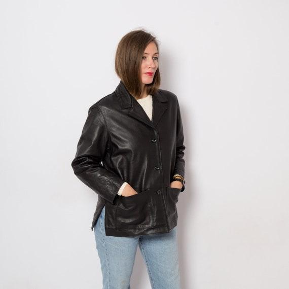90s Black Long Leather Jacket Women Leather Coat w