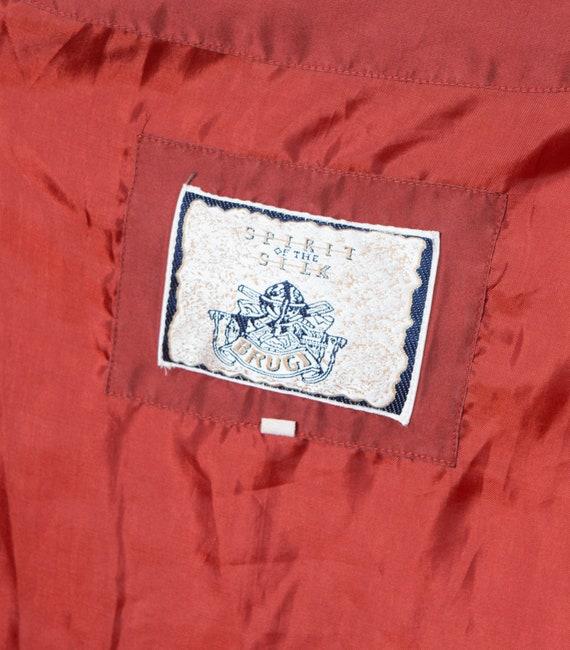 Red Silk Bomber Jacket Padded Shoulder Oversized … - image 10