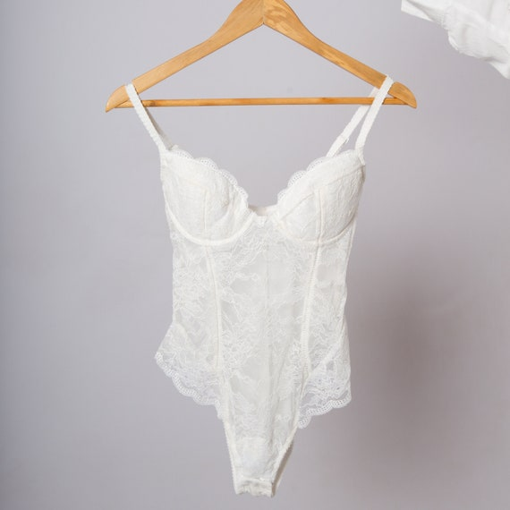 Lingerie Bodysuit Lace White Leotard Bridal Lace B