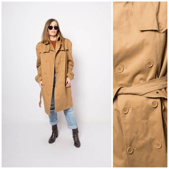 Trench Coat Double Breasted Overcoat Duster Coat L