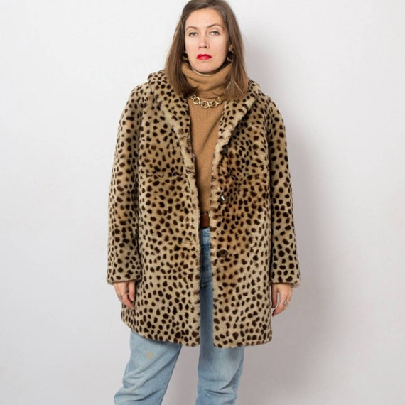 Mod Cheetah Print Faux Fur Coat Women Animal Print