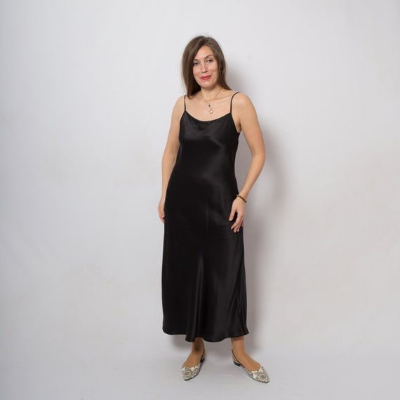 Long Black Silk Slip Dress Satin Full Slip Silk Ni