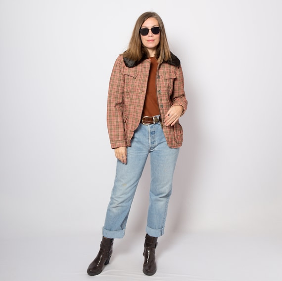 Vintage Short Wool Jacket Plaid Jacket Cropped Jac