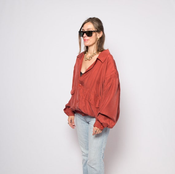 Red Silk Bomber Jacket Padded Shoulder Oversized … - image 3