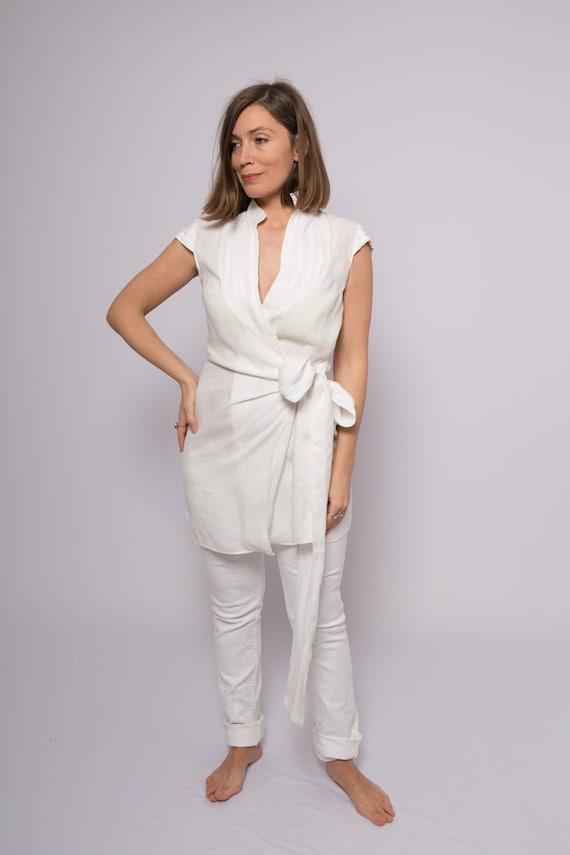White Linen Wrap Blouse Tunic Linen Shirt Linen Wr