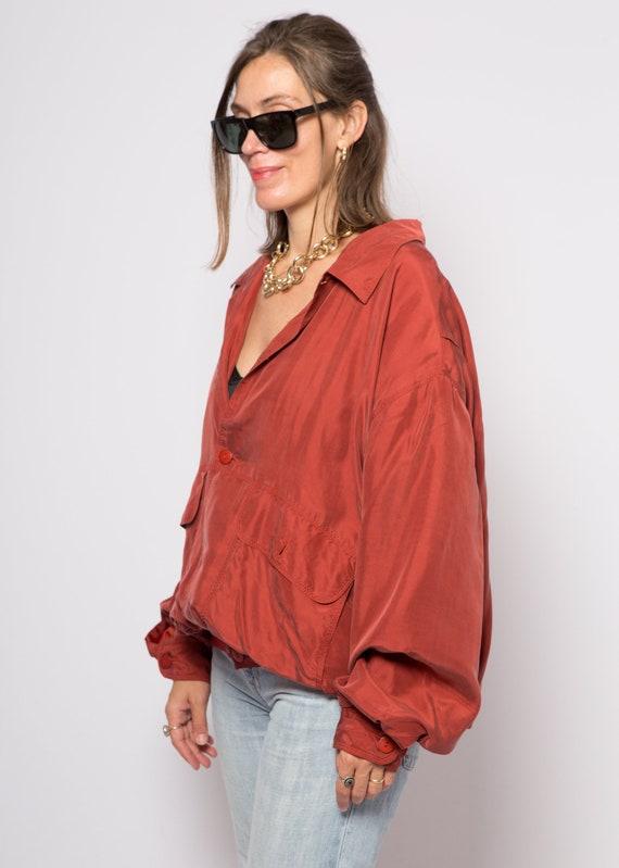 Red Silk Bomber Jacket Padded Shoulder Oversized … - image 4