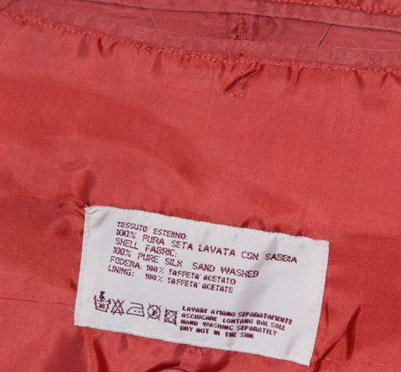 Red Silk Bomber Jacket Padded Shoulder Oversized … - image 9