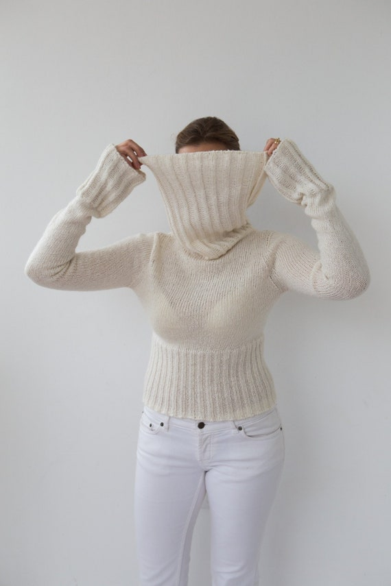 a79155c354 SPORTMAX Vintage White Turtleneck Sweater Mohair Cropped Sweater Mohair  Jumper