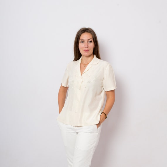 Embroidered Vintage Blouse, 1940s blouse, Oversize