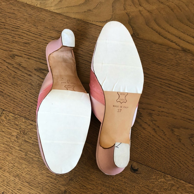 Pink satin slip on dress shoes,made in Italy,leather vintage shoes,diamant\u00e9 buckle with sash,satin evening shoes,costume shoes,size 37