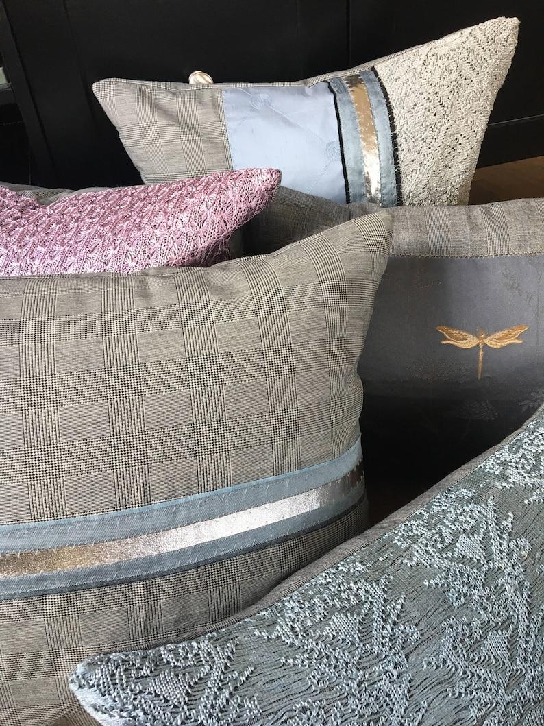 Silver leather detailing,Bedroom decor,Cushion,decorative cushion silk Grey cushion tweed  cushion,blue woollen cushion
