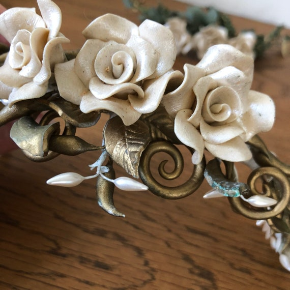 Vintage floral tiara,handmade tiara,rose tiara,bri