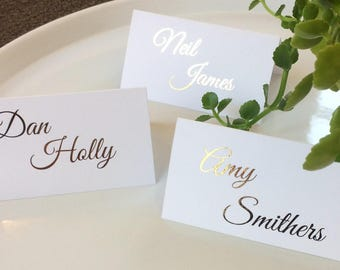 Personalised Christmas Table Name Place Cards Settings White//Ivory Holly
