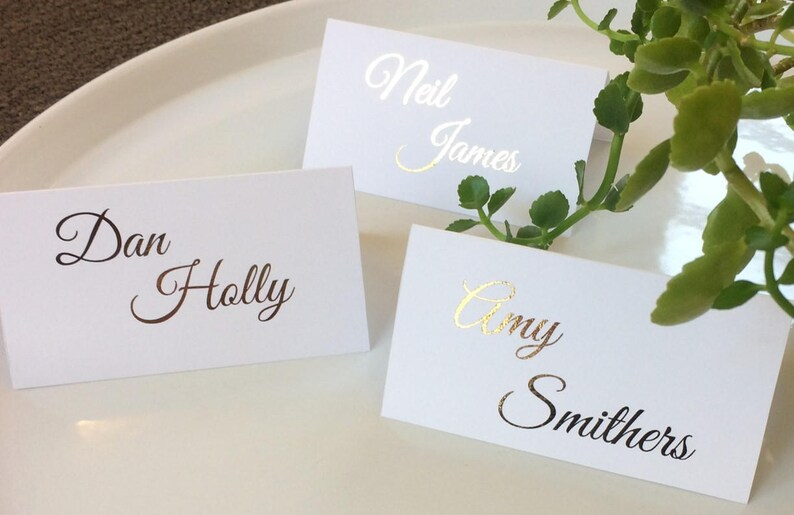 Wedding Name Cards.Wedding Name Cards Place Cards Gold Foil Personalised Wedding Stationary The Violet Collection