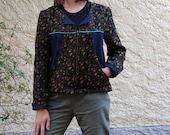 Veste Gabi en jean et tissu jacquard noir bleu jaune et lurex T40/42