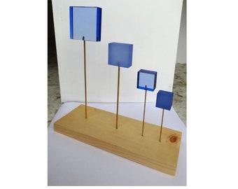 Sculpture Carrés bleus plexi