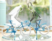 Wedding Cake Topper, Bicycle Wedding Cake Topper, Handmade Wedding Cake Topper, Blue Mr and Mrs Mountain Bikes with Silver Wheels.