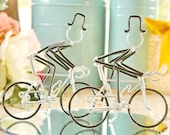 LGBT Wedding Cake Topper, Mr and Mr Silver Wedding Road Bikes with Black Wheels, Handmade Wedding Cake Topper