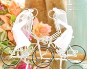 LGBT Wedding Cake Topper, Mrs and Mrs Silver Wedding Road Bikes with Black Wheels, Handmade Wedding Cake Topper