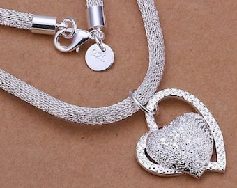 Fashion Silver Charm Heart Pendant Beautiful women Necklace Jewelry