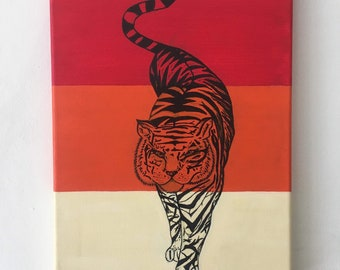 Hand Painted Tiger Canvas