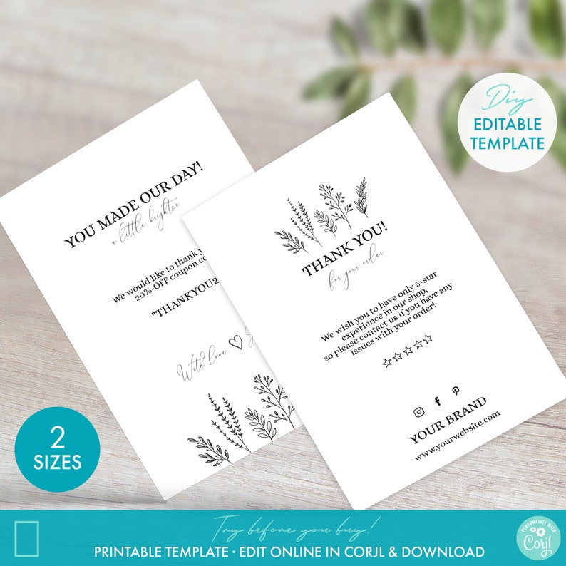 Fully Editable Brand Packaging Postcard DIY Printable Order Insert Business Thank You Card Template Floral Thank You for Your Order Card