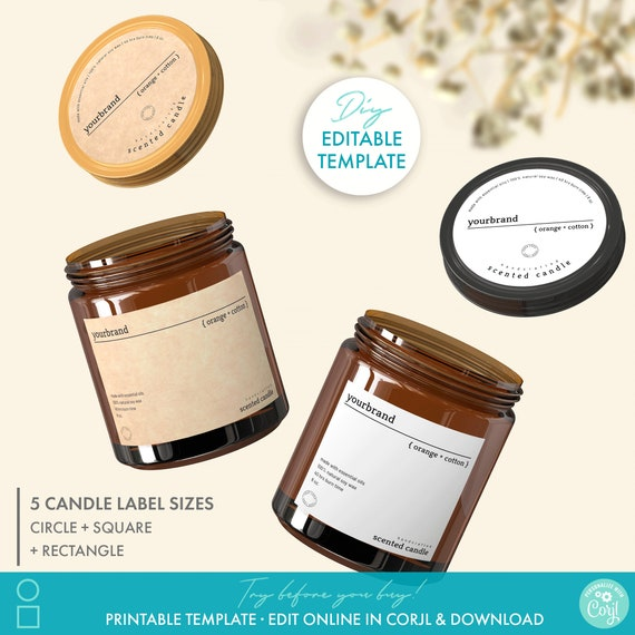 DIY Editable Product Label Product Packaging Circle Candle Label Design Label for Bottles Essential Oil Label Candle Label Template