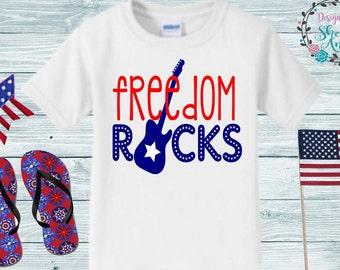f98144fc4 4th of July Kid's Shirt, Freedom Rocks, Kids summer shirt, Toddler 4th of  July shirt, 4th of July bodysuit, Boys summer shirt, Freedom