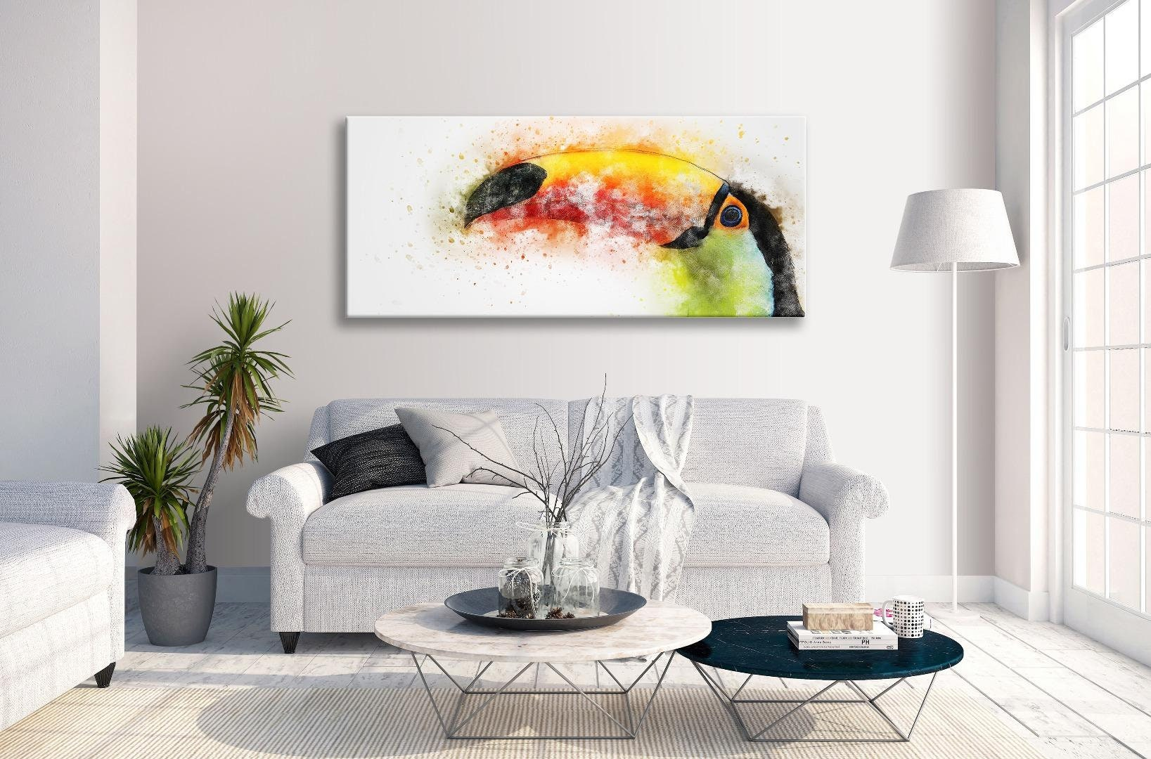 Toucan Abstract Watercolour Canvas Panorama Wall Art Picture Home Decor Prints