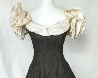 52d77b94a9b Vintage Zum Zum 80s Black Prom Party Cocktail Dress Small